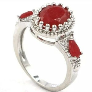 Beautiful genuine rubies silver filled ring